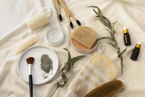Different natural self care products composition photo