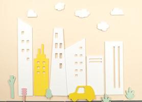 concepto de transporte con coche y edificios. foto