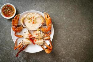 Steamed egg crab with fresh milk photo
