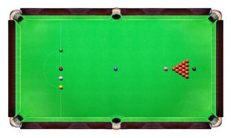 Snooker table with Multicolor snooker balls on green top view photo