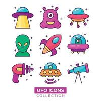 UFO and Alien Icons Pack vector