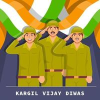 Soldier Celebrate Kargil Vijay Diwas vector