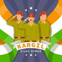 Soldier Salute To Kargil Vijay Diwas vector