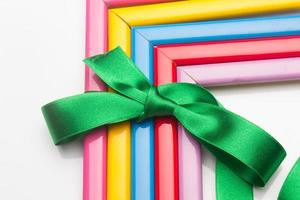 Coloured frames and a gift ribbon photo
