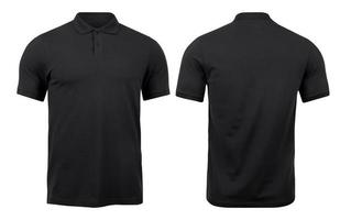 Black polo shirts mockup front and back used as design template, isolated on white background with clipping path. photo
