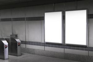 Blank billboard mockup in underground photo