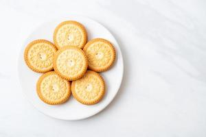 Cookies with butter vanilla cream photo