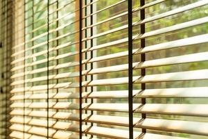 Close-up bamboo blind, bamboo curtain, chick, Venetian blind or sun-blind - soft-focus point photo