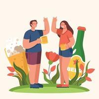 dos personas celebrando la fiesta del día de la cerveza vector