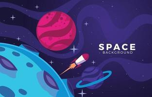 Space Ship Fly Across the Moon vector