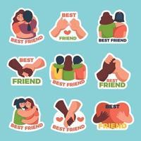conjunto de pegatinas de amistad vector