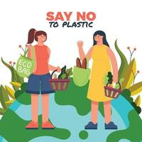 Two Person Discuss How to Use Less Plastic vector