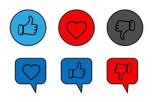 Thumb up, Thumb down and Like icons vector
