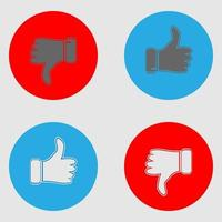 Thumb up and thumb down. Blue and red icons vector