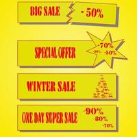 Set of sale tags and labels, template shopping labels. Blank, discount and price tags on paper. Special offer vector