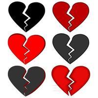 Set of broken hearts vector