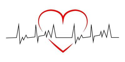 Red heart with black line heartbeat vector