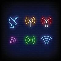 Radio Tower Symbol Neon Signs Style Vector