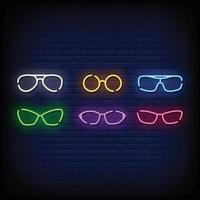 Spectacles Symbol Neon Signs Style Vector