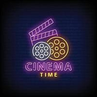 Cinema Time Neon Signs Style Vector