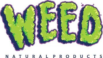 Weed Typeface Cloud Smoke lettering vector