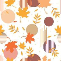 Modern autumn leaves with colorful circle geometric and stripe seamless pattern vector