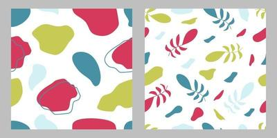 Abstract seamless floral pattern and abstract seamless pattern with different colorful geometric shapes and forms.Ready to use for textile,fabric,cover,poster,wallpaper,packaging,and branding identity vector