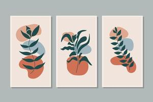 Botanical, plant, leaf wall art vector set. Foliage line art drawing with abstract shape. Abstract Plant Art design for print, cover, wallpaper, background, Minimal and natural wallpaper. Vector illustration