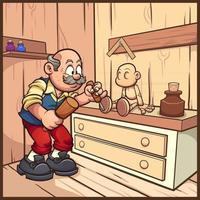 carpintero haciendo una marioneta de madera vector