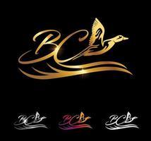 Golden Monogram Duck Initial Letter BC vector