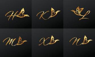 Golden Monogram Duck Initial set Letter Logo vector