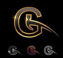 Golden Monogram Hammer Letter G vector