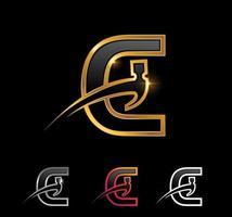 Golden Monogram Hammer Letter C vector