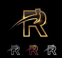 Golden Monogram Hammer Initial Letter R vector