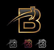 Golden Monogram Hammer Letter B vector