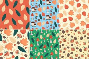 Set of seamless patterns with autumn elements, yellow leaves mushrooms and berries in flat style, vector seamless backgrounds