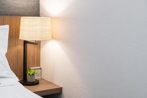 Beautiful lamp decoration in bedroom interior photo