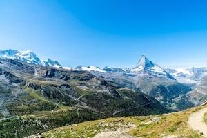 Beautiful mountain landscape with views of the Matterhorn peak in Zermatt, Switzerland. photo