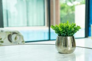 Planta en decoración de jarrón sobre la mesa en el salón. foto