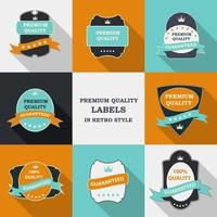 Vector Premium Quality Label Set in Flat Modern Design with Long Shadow. Vector Illustration