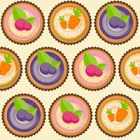 Sweet Cakes with Berry and Carrot Seamless Pattern Background vector