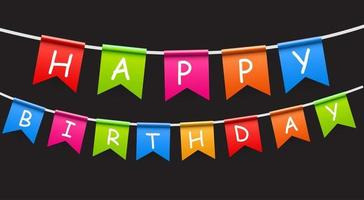 Happy Birthday Party Background with Flags Vector Illustration