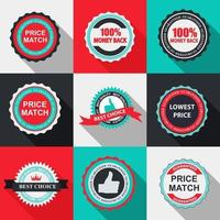 Quality Label Sign Set in Flat Modern Design with Long Shadow. vector