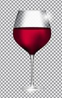 Full Glass of Red Wine on Transparent Background Vector Illustration