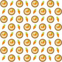 Sweet Cakes with Carrot Seamless Pattern Background Vector Illustration