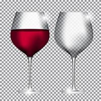Full and Empty Glass of Wine on Transparent Background Vector Illustration
