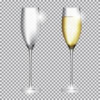 Glass of Champagne Full and Empty on Transparent Background Vector Illustration