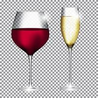 Glass of Champagne and Wine on Transparent Background Vector Illustration