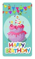 Happy Birthday Card Baner Background  with Cake and Flags. Vector Illustration
