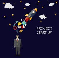 Success. Personal and career growth. Business idea. Quick Start Up Flat Concept Illustration vector